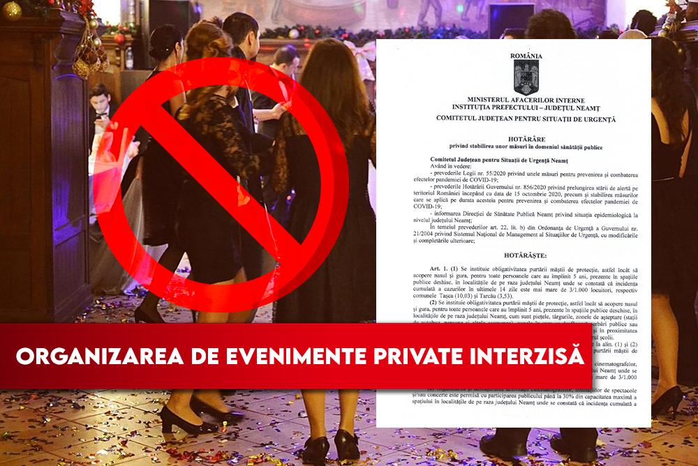 Organizarea de evenimente private INTERZISĂ