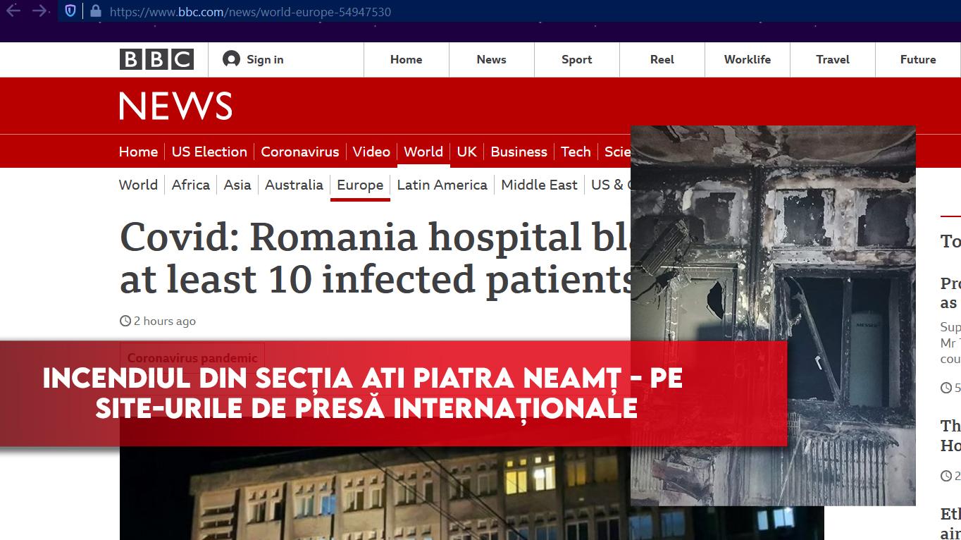Incendiul din secția ATI Piatra Neamț – pe site-urile de presă internaționale
